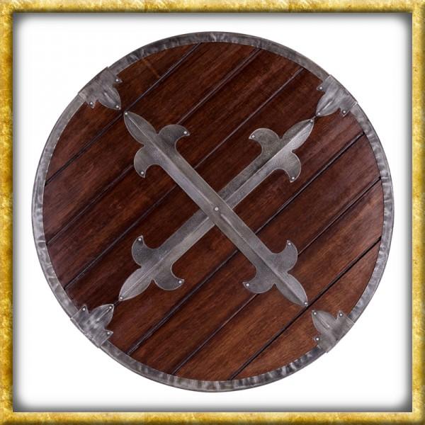 Rundschild aus Holz mit Stahlbeschlägen