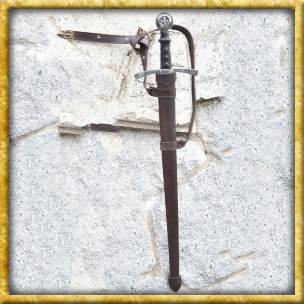 Schwertscheide Fleur-du-lis aus Leder - Nach Mass
