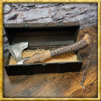 Wikingeraxt mit Ledergriff Valknut - Geschliffen