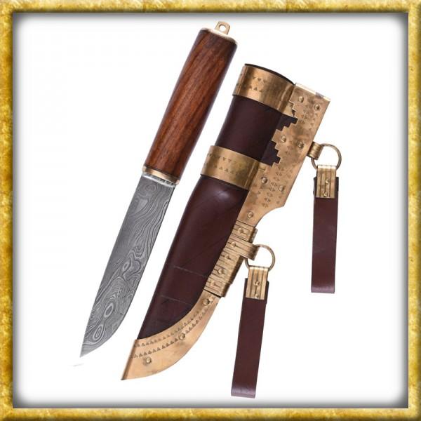 Wikinger Messer aus Damaststahl mit Holzgriff