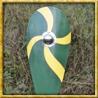 Normannenschild aus Holz - Grün/Gelb