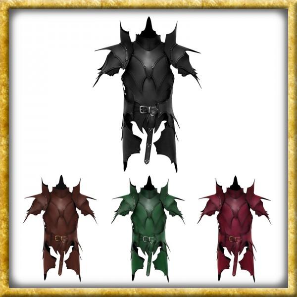Lederrüstung mit Schultern & Beintaschen Dunkelelf - Diverse Farben