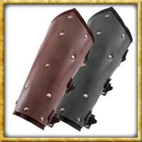 Armschützer aus Leder mit Nieten - Dunkelbraun oder Schwarz