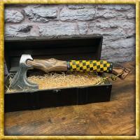 Wikingeraxt mit gelb/schwarzem Ledergriff Oseberg - Geschliffen