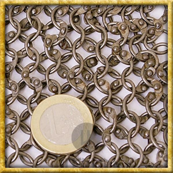 Kettenhaube mit quadratischem Mundschutz - Rundringe