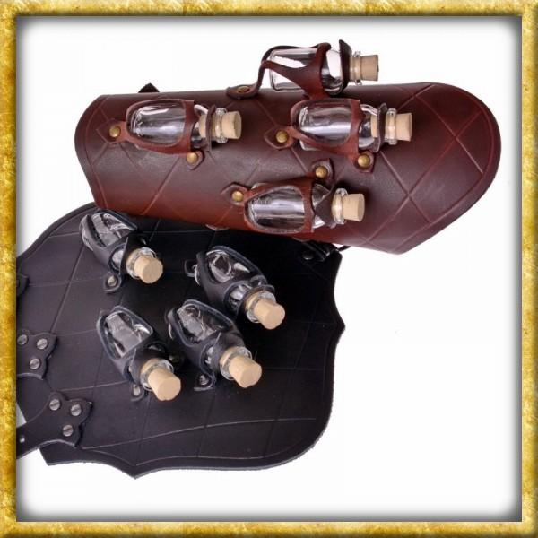 Armschützer mit vier Trankflaschen - Braun oder Schwarz
