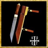 Skramasax aus Damaststahl mit Holz-/Knochengriff