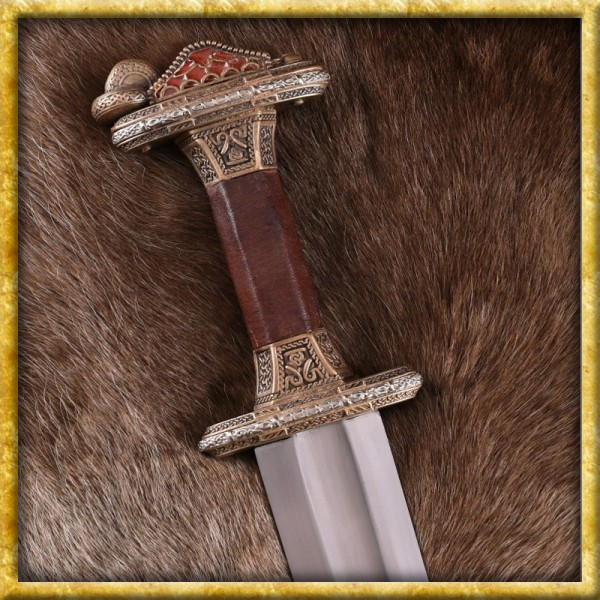 Vendelzeit Schwert mit Scheide - Messingheft