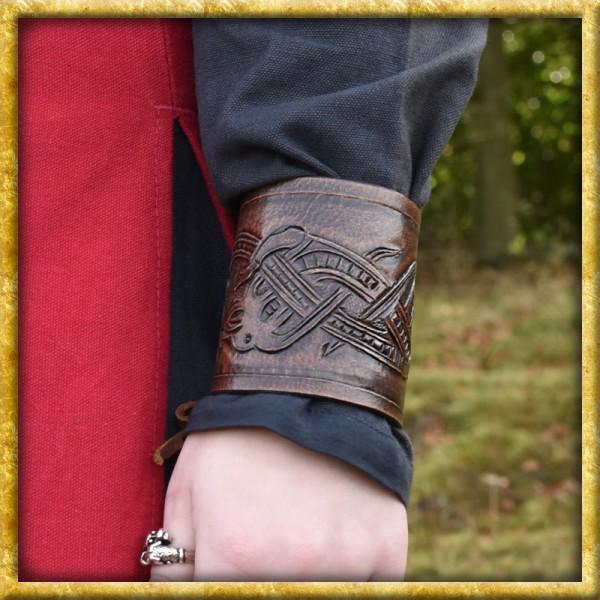 Armschützer aus Leder mit Drachenmotiv - Braun
