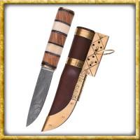 Wikingermesser aus Damaststahl mit Holz/Knochengriff