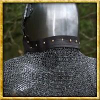 Brünierte Kettenbrünne mit Leder - Unvernieteter Stahl