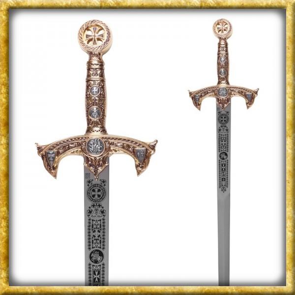 Goldenes Templer Schwert mit Zierätzung