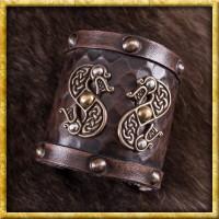 Leder Armschützer mit nordischem Drachen-Motiv