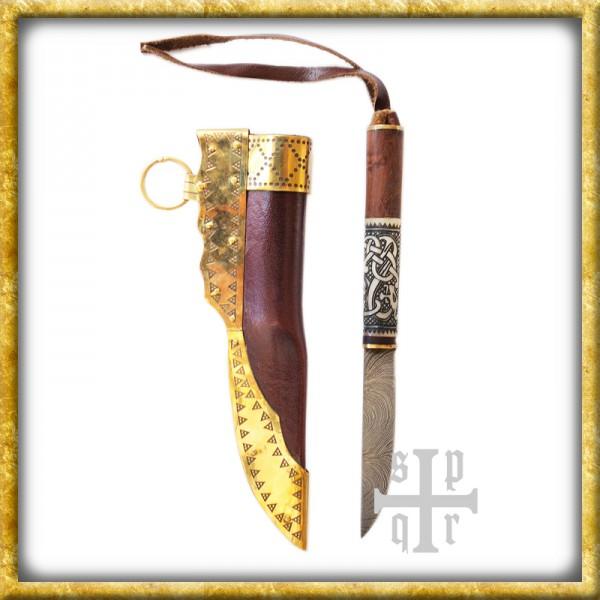 Kleines Wikinger Messer mit Schlangenmotiv - Damast