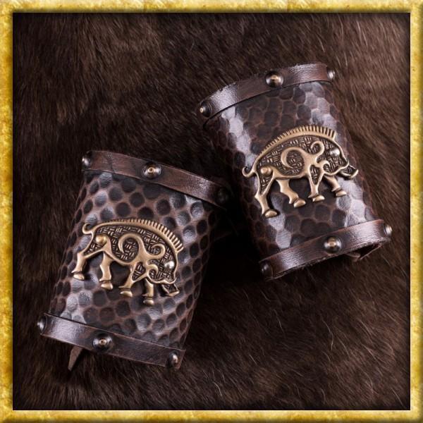Leder Armschützer mit keltischem Wildschwein-Motiv