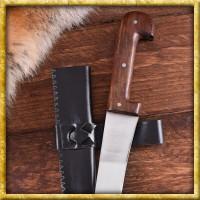 Einfaches langes Saxmesser mit Lederscheide