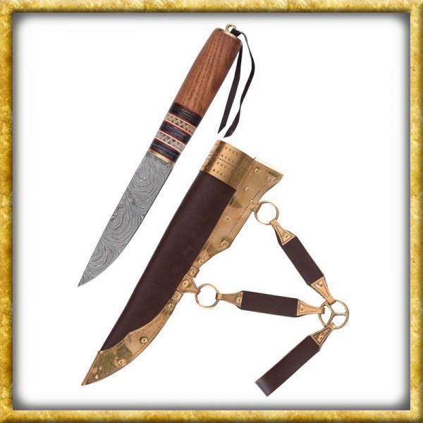 Wikinger Messer aus Damaststahl mit Holz/Knochengriff