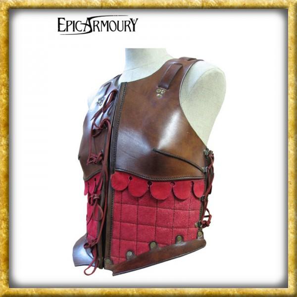 Frauenrüstung aus Leder - Braun/Rot