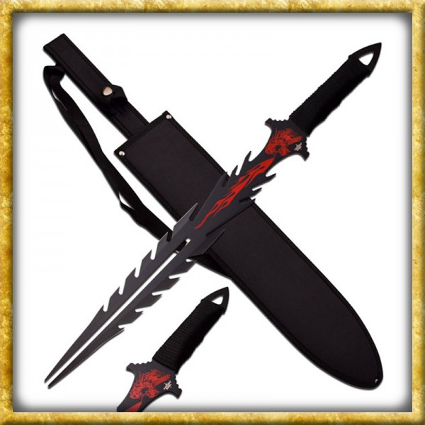 Kurzes Fantasy Schwert - Rote Flamme