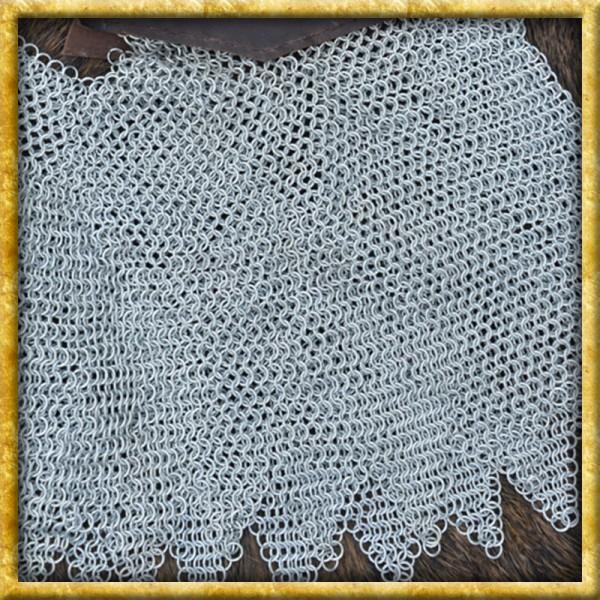 Verzinkte Kettenbrünne mit Leder - Unvernieteter Stahl