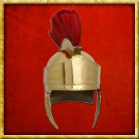 Attischer Helm aus Messing mit Haarbusch